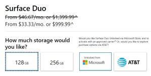 Microsoft Surface Duo Storage Options and Prices