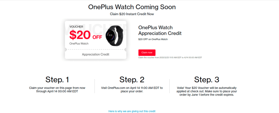 OnePlus Watch Discount Coupon